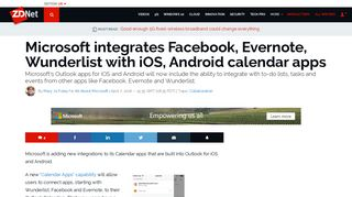 Microsoft integrates Facebook, Evernote, Wunderlist with iOS, Android ...
