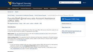 Faculty/Staff @mail.wvu.edu Account Assistance (Office 365)