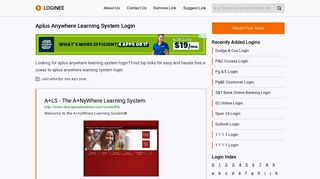 Aplus Anywhere Learning System Login