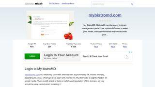 Mybistromd.com website. Login to My bistroMD.