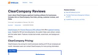 ClearCompany Reviews, Pricing, Key Info, and FAQs - The SMB Guide