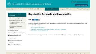 | Registration Renewals and Incorporation | Member Information ...