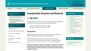 | Incorporation Issuance and Renewal | Registration Renewals and ...