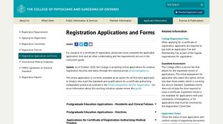 | Registration Applications and Forms | Applicant Information | College ...