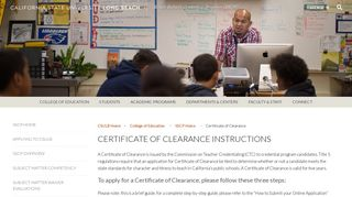 Certificate of Clearance Instructions - Single Subject Credential Program
