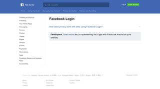 Facebook Login   Facebook Help Center   Facebook