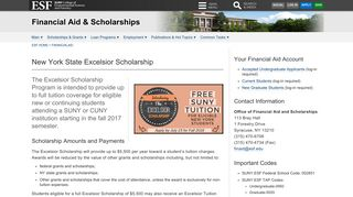 New York State Excelsior Scholarship | Financial Aid and ... - SUNY ESF
