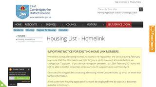 Housing List - Homelink   East Cambridgeshire District Council