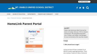 HomeLink Parent Portal - Mt. Diablo Unified School District