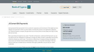 Bank of Cyprus - JCCsmart Bill Payments