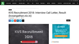KVS Recruitment 2018: Interview Call Letter, Result (kvsangathan.nic.in)