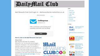 Mail Rewards Club Card Login In - Mailrewardsclub.mailonline.co.uk ...