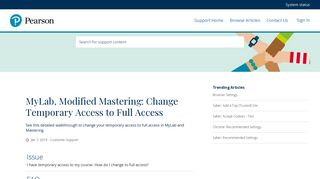MyLab, Modified Mastering: Change Temporary Access to Full Access