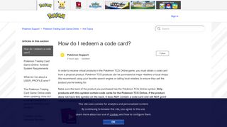 How do I redeem a code card? – Pokémon Support