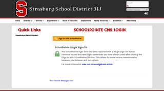 CMS Login - Strasburg School District 31J