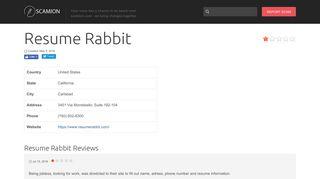 Resume Rabbit Reviews - scamion.com