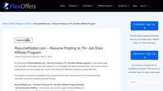 ResumeRabbit.com - Resume Posting to 75+ Job Sites Affiliate ...