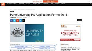 Pune University PG Application Forms 2018 | AglaSem Admission