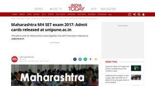 Maharashtra MH SET exam 2017: Admit cards released at unipune.ac.in
