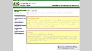 University of Guyana - Prospective Student Login - Turkeyen Campus