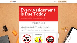 Every Assignment is Due Today | Smore Newsletters