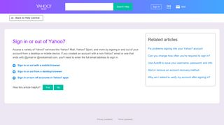 Sign in or out of Yahoo7 | Yahoo Help - SLN3407