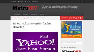 How to switch to Yahoo mail basic version for fast access? - MatruDEV