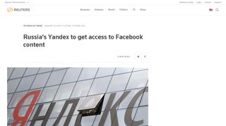 Russia's Yandex to get access to Facebook content | Reuters