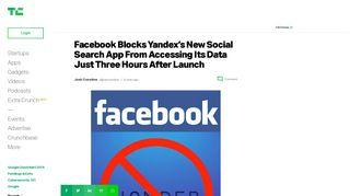 Facebook Blocks Yandex's New Social Search App From Accessing ...