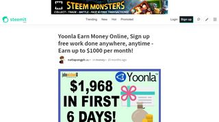 Yoonla Earn Money Online, Sign up free work done anywhere ...