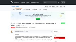 Error: You've been logged out by the server. Please log in again. [403 ...
