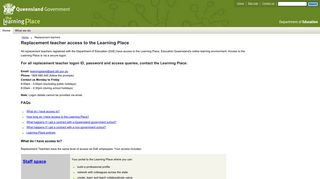 Replacement teachers - Learning Place - Education Queensland