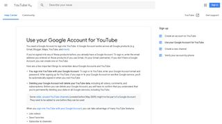 Use your Google Account for YouTube - YouTube Help - Google Support