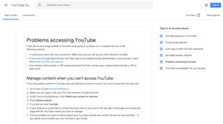 Problems accessing YouTube - YouTube Help - Google Support
