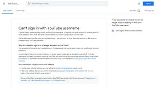 Can't sign in with YouTube username - YouTube Help - Google Support