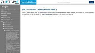 How can I login to ZNetLive Member Panel ?