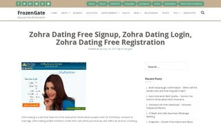 Zohra dating sign up is there a dating site for gamers