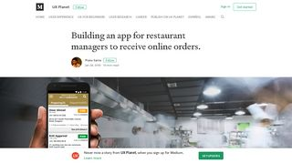 Building an app for restaurant managers to receive online orders.