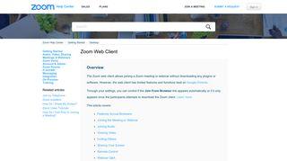 Zoom Web Client – Zoom Help Center