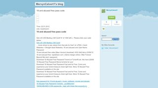 18 and abused free pass code - MervynCalvert1's blog