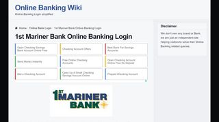 1st Mariner Bank Online Banking Login   OnlineBankingHQ