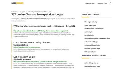 777 Lucky Charms Sweepstakes Login — Sign In to Your Account