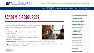 Academic Resources   SUNY Maritime College