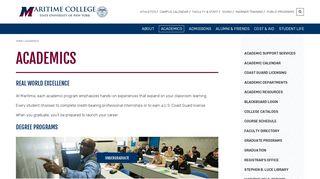 Academics   SUNY Maritime College