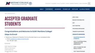 Accepted Graduate Students   SUNY Maritime College