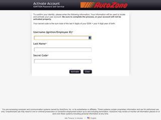 Activate Account - IGNITION Password Self-Service - AutoZone