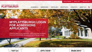 Admissions | Applicants | MyPlattsburgh Login | SUNY ...