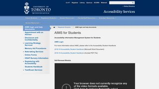 AIMS for Students   Accessibility Services - UTM - University of ...