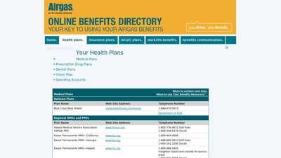 Airgas Online Benefits Directory