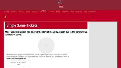 Angels Single Game Tickets  Los Angeles Angels